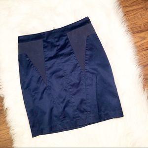Silence + Noise Blue Faux Leather Skirt